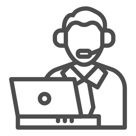 Credit support operator line icon. Man with laptop, bank customer symbol, outline style pictogram on white background. Money transfer sign for mobile concept and web design. Vector graphics.