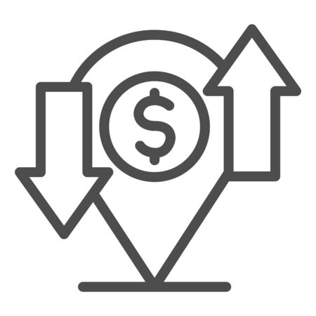 Cash flow with location map pin line icon. Dollar funds exchange symbol, outline style pictogram on white background. Money transfer sign for mobile concept and web design. Vector graphics.