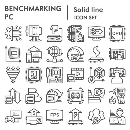 Benchmarking line icon set. Technology and computer signs collection, sketches, logo illustrations, web symbols, outline style pictograms package isolated on white background. Vector graphics. Illustration