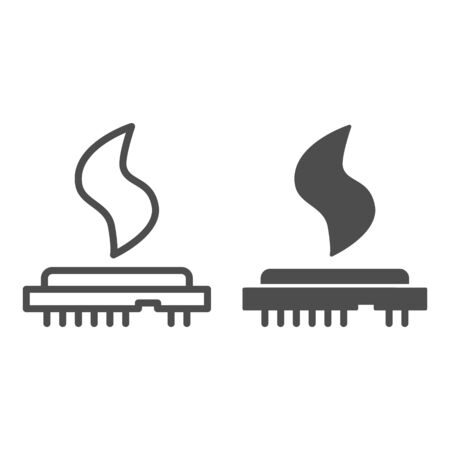 CPU heat line and solid icon. Processor temperature, microchip overheating symbol, outline style pictogram on white background. Benchmarking sign for mobile concept and web design. Vector graphics.