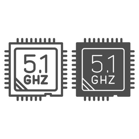 Modern powerful processor line and solid icon. Computer microchip, CPU overlock symbol, outline style pictogram on white background. Benchmarking sign for mobile concept, web design. Vector graphics. Illustration