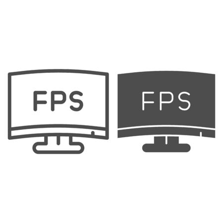 FPS definition line and solid icon. Modern monitor, frames per second counter symbol, outline style pictogram on white background. Benchmarking sign for mobile concept and web design. Vector graphics.