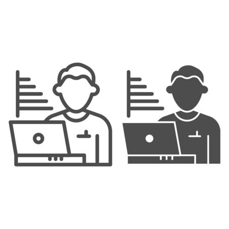 Technician blogger line and solid icon. Statistics chart and user with laptop symbol, outline style pictogram on white background. Benchmarking sign for mobile concept and web design. Vector graphics.