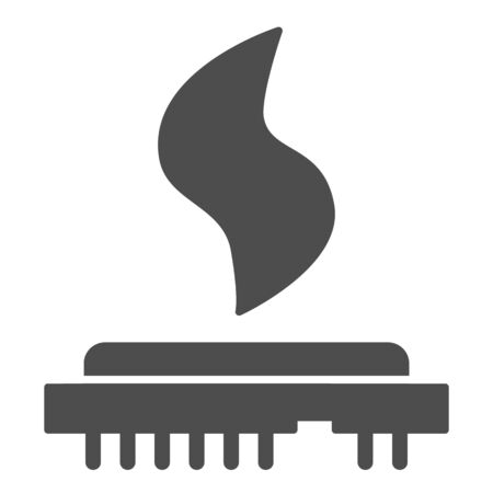 CPU heat solid icon. Processor temperature, microchip overheating symbol, glyph style pictogram on white background. Benchmarking sign for mobile concept and web design. Vector graphics.