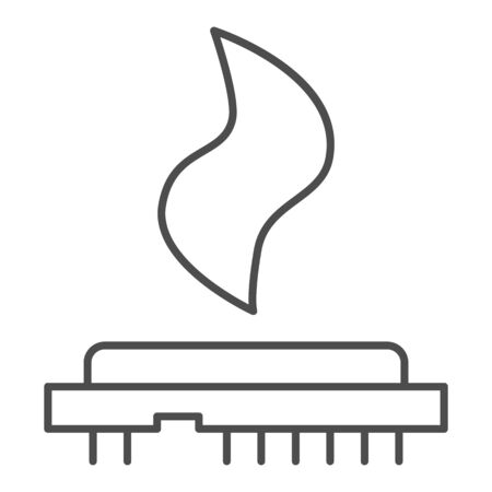 CPU heat thin line icon. Processor temperature, microchip overheating symbol, outline style pictogram on white background. Benchmarking sign for mobile concept and web design. Vector graphics.