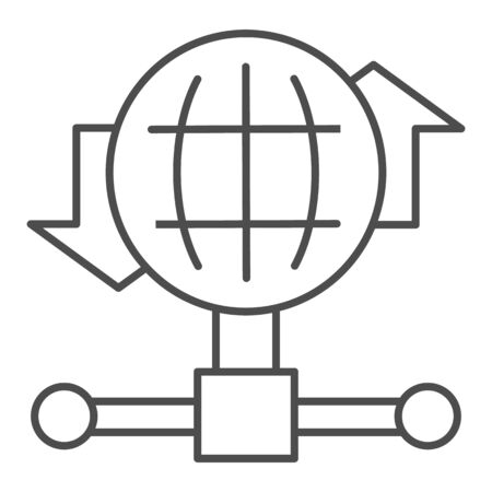Internet connection bandwidth thin line icon. Globe and fiber optic wire symbol, outline style pictogram on white background. Benchmarking sign for mobile concept and web design. Vector graphics.