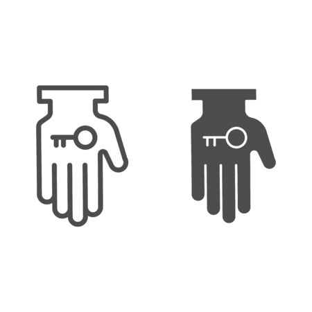 Hand holding key line and solid icon. Business solution, lock access item in palm symbol, outline style pictogram on white background. Teamwork sign for mobile concept or web design.