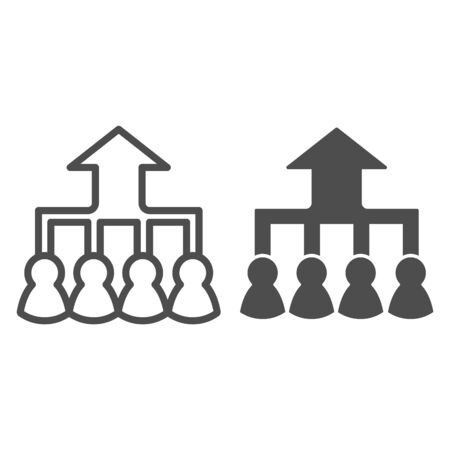 Career group growth line and solid icon. Hierarchy or flow chart, up arrow and team symbol, outline style pictogram on white background. Teamwork sign for mobile concept, web design.