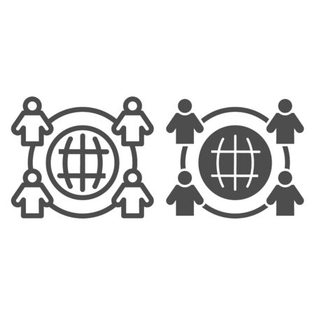 Employee outsourcing line and solid icon. Business outsource, globe and four persons symbol, outline style pictogram on white background. Teamwork sign for mobile concept, web design.