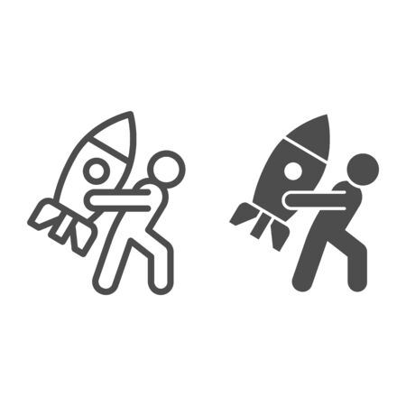 Man carries rocket line and solid icon. Progressive career, person holding spaceship symbol, outline style pictogram on white background. Teamwork sign for mobile concept, web design.