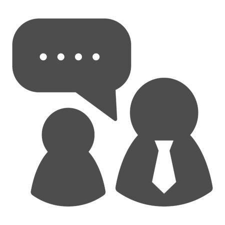 Job interview solid icon. Boss and employee, dialogue with authorities symbol, glyph style pictogram on white background. Teamwork sign for mobile concept and web design.