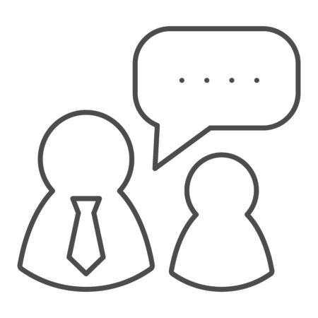 Job interview thin line icon. Boss and employee, dialogue with authorities symbol, outline style pictogram on white background. Teamwork sign for mobile concept and web design. Illusztráció