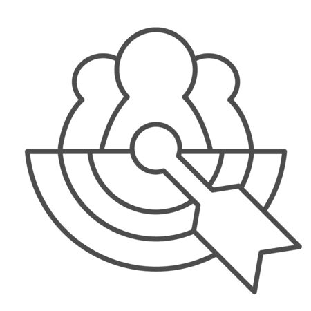 Team target thin line icon. Business goal, collective achievement symbol, outline style pictogram on white background. Teamwork sign for mobile concept and web design. Ilustração