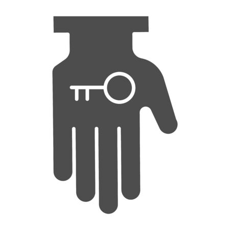 Hand holding key solid icon. Business solution, lock access item in palm symbol, glyph style pictogram on white background. Teamwork sign for mobile concept or web design.
