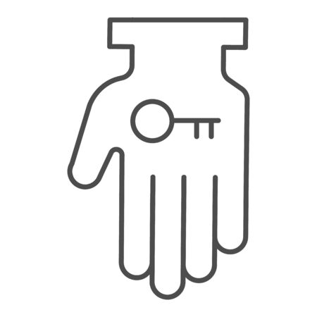 Hand holding key thin line icon. Business solution, lock access item in palm symbol, outline style pictogram on white background. Teamwork sign for mobile concept or web design.