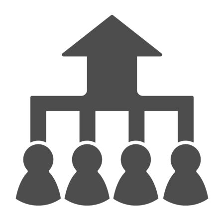Career group growth solid icon. Hierarchy or flow chart, up arrow and team symbol, glyph style pictogram on white background. Teamwork sign for mobile concept, web design.