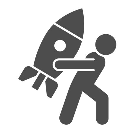 Man carries rocket solid icon. Progressive career, person holding spaceship symbol, glyph style pictogram on white background. Teamwork sign for mobile concept, web design.