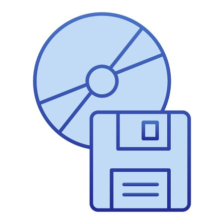Compact disk and floppy diskette color icon. Different data storage symbol, gradient style pictogram on white background. Office item sign for mobile concept and web design.