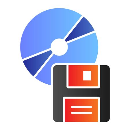 Compact disk and floppy diskette flat icon. Different data storage symbol, gradient style pictogram on white background. Office item sign for mobile concept and web design. Çizim