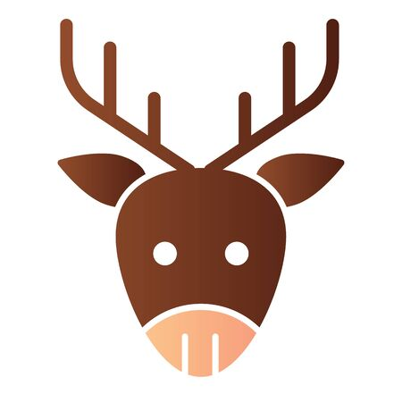 Deer head flat icon. Forest horned animal face symbol, gradient style pictogram on white background. Christmas holiday item sign for mobile concept and web design.