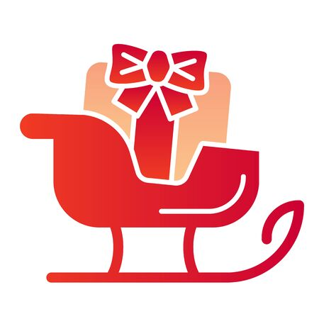 Sleigh flat icon. Sledge with bag of gifts and presents symbol, gradient style pictogram on white background. Christmas holiday item sign for mobile concept and web design. Stock Illustratie