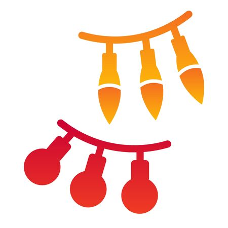 Festoon flat icon. Hanging balls and lamps decoration symbol, gradient style pictogram on white background. Christmas holiday item sign for mobile concept and web design.