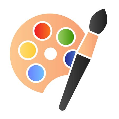 Paint pallet and brush flat icon. Color palette with artbrush symbol, gradient style pictogram on white background. Stationery item sign for mobile concept and web design. Ilustrace