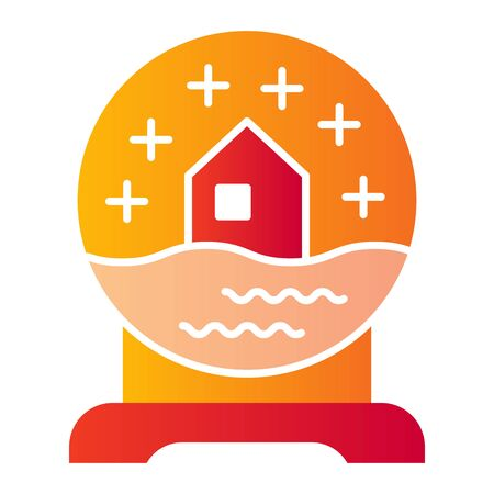 Glass snow globe flat icon. Ball with snowy house souvenir symbol, gradient style pictogram on white background. Christmas holiday item sign for mobile concept or web design.