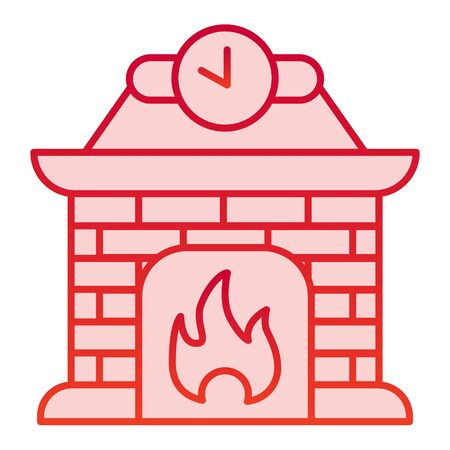 Fireplace color icon. Apartment decoration with fire and clock symbol, gradient style pictogram on white background. Christmas holiday sign for mobile concept and web design. Vettoriali