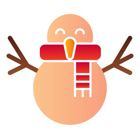 Happy snowman flat icon. Cute winter snow figure with scarf symbol, gradient style pictogram on white background. Christmas holiday sign for mobile concept and web design.  イラスト・ベクター素材