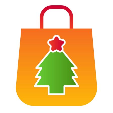 Winter shopping package flat icon. Bag for presents with tree symbol, gradient style pictogram on white background. Christmas holiday sign for mobile concept and web design. 矢量图像