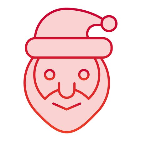 Santa Claus head color icon. Smiling grandfather face symbol, gradient style pictogram on white background. Christmas holiday sign for mobile concept and web design.