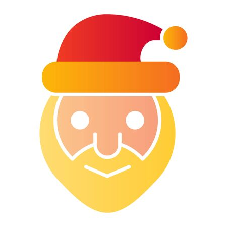 Santa claus head flat icon. Smiling grandfather face symbol, gradient style pictogram on white background. Christmas holiday sign for mobile concept and web design.