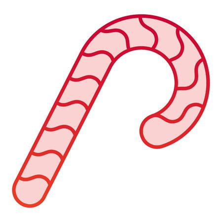 Candy color icon. Christmas candy cane with spiral symbol, gradient style pictogram on white background. Holiday item sign for mobile concept and web design.