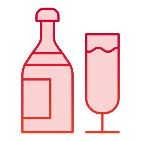 Champagne color icon. Bottle of drink and glass for party symbol, gradient style pictogram on white background. Drinks or holiday item sign for mobile concept and web design. Vector graphics. Stock Illustratie
