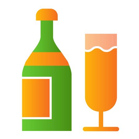 Champagne flat icon. Bottle of drink and glass for party symbol, gradient style pictogram on white background. Drinks or holiday item sign for mobile concept and web design. Vector graphics. Stock Illustratie