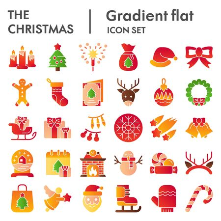 Christmas color icon set. Winter holiday symbols collection, vector sketches, logo illustrations, web signs, gradient style pictograms package for mobile concept and web design. Vector graphics.  イラスト・ベクター素材