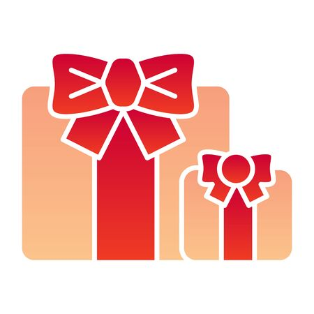Gifts flat icon. Two present boxes symbol, gradient style pictogram on white background. Party or holiday item sign for mobile concept and web design.