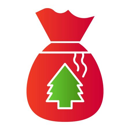 Bag lot of presents flat icon. Santa Clause bag with fir-tree symbol, gradient style pictogram on white background. Christmas holiday sign for mobile concept and web design.