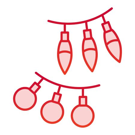 Festoon color icon. Hanging balls and lamps decoration symbol, gradient style pictogram on white background. Christmas holiday item sign for mobile concept and web design.