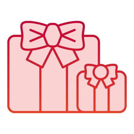 Gifts color icon. Two present boxes symbol, gradient style pictogram on white background. Party or holiday item sign for mobile concept and web design.