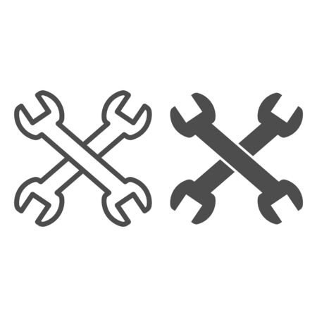 Wrenches line and solid icon. Two crossed handle tools, technical or repair item symbol, outline style pictogram on white background. Construction sign for mobile concept, web design. Vector graphics.