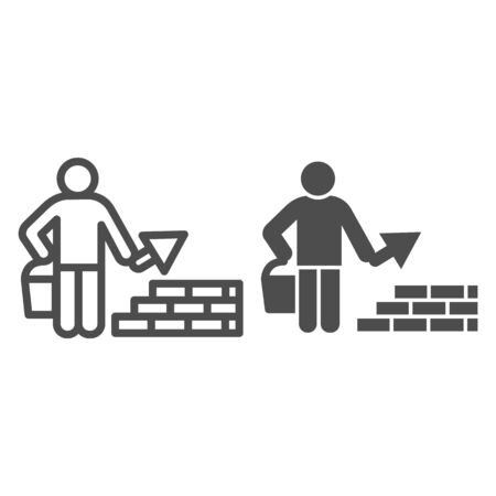 Builder with trowel line and solid icon. Worker man build brick masonry wall symbol, outline style pictogram on white background. Construction sign for mobile concept and web design. Vector graphics.