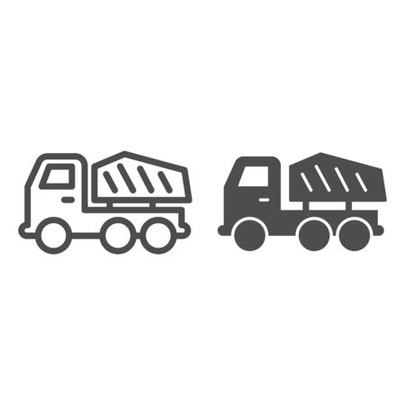 Truck line and solid icon. Heavy machine, cargo transportation vehicle symbol, outline style pictogram on white background. Construction sign for mobile concept and web design. Vector graphics.