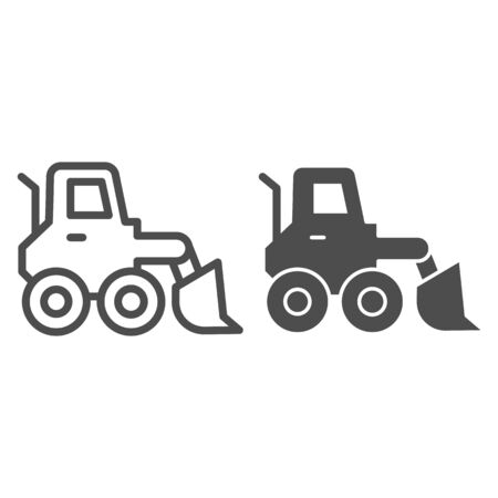 Snow blower line and solid icon. Ice scraper and loader vehicle, plow truck symbol, outline style pictogram on white background. Construction sign for mobile concept and web design. Vector graphics.