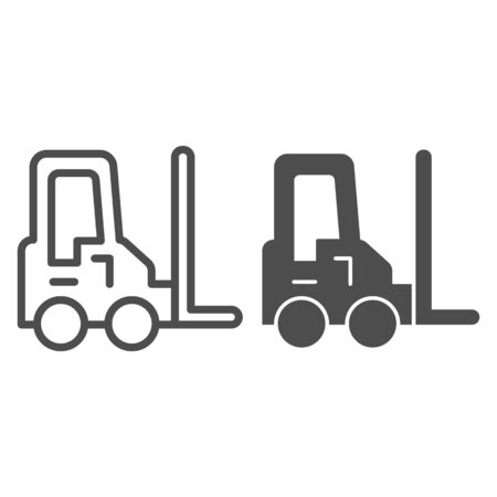 Loader vehicle line and solid icon. Forklift car and stacker, cargo delivery symbol, outline style pictogram on white background. Transportation sign for mobile concept or web design. Vector graphics.