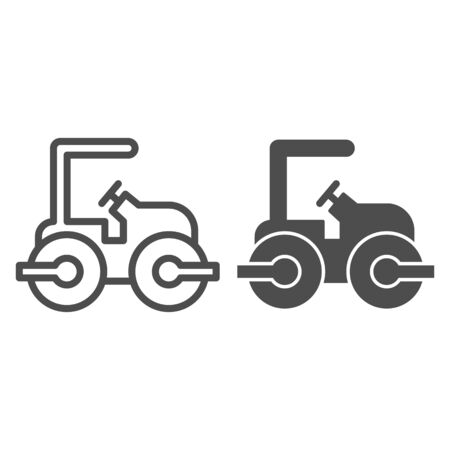 Road paver truck line and solid icon. Roller heavy vehicle for laying asphalt symbol, outline style pictogram on white background. Construction sign for mobile concept and web design. Vector graphics.