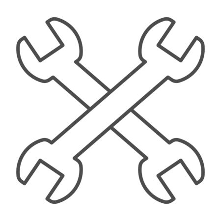 Wrenches thin line icon. Two crossed handle tools, technical or repair item symbol, outline style pictogram on white background. Construction sign for mobile concept, web design. Vector graphics.