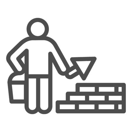 Builder with trowel line icon. Worker man build brick masonry wall symbol, outline style pictogram on white background. Construction sign for mobile concept and web design. Vector graphics.