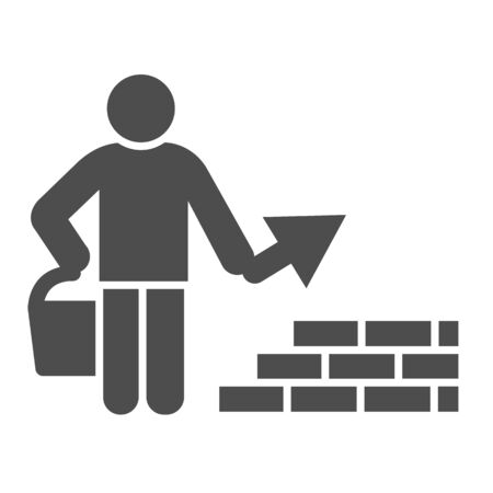 Builder with trowel solid icon. Worker man build brick masonry wall symbol, glyph style pictogram on white background. Construction sign for mobile concept and web design. Vector graphics.